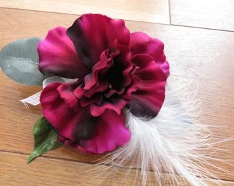 Burgundy Hollyhock Wrist Corsage, Wedding, Prom or Event.