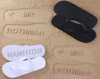 His and Her Flip Flops Personalized Bridal Wedding *check size chart, see 3rd product photo*