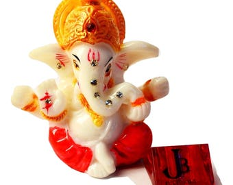 "2.5"" Mini Lord Ganesh / Ganpati Poly Marble Idol. Hindu God of Success - FREE Agarbati (Incense stick) stand - Ganpati Statue"