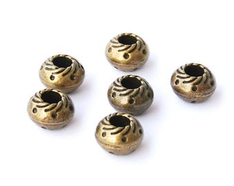 12 pearls for round leather, antique bronze