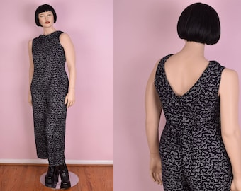 90s Floral and Bow Print Jumpsuit/ Large/ 1990s