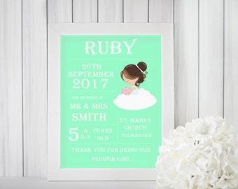 Flower girl gift, present for flower girl, wedding prints, personalised flower girl gift, gift ideas for flower girl, wedding gift