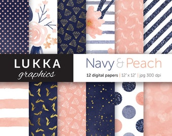 Sale; Navy and peach digital paper pack; digital patterns; watercolor, glitter and gold; flowers, high heels, diamonds, dots, stripes