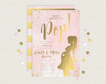 She's About to Pop Invitation / She's About to Pop Baby Shower / Brunch Baby Shower / MOMosas / Girl Baby Shower / Pink Baby Shower / Baby