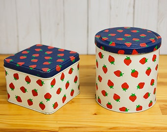 Vintage Strawberry Tin Canister Set of Two By Potpourri Press