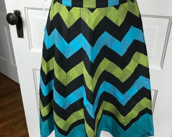 Vintage Ladies' Black, Teal and Green Chevron Pattern Half Apron