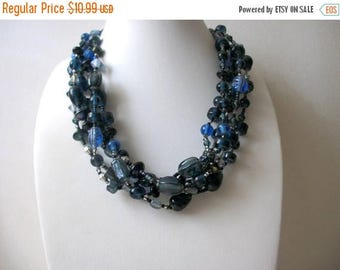 ON SALE Vintage Chunky Shorter Length All Glass Beads Multi Strand Necklace 102316