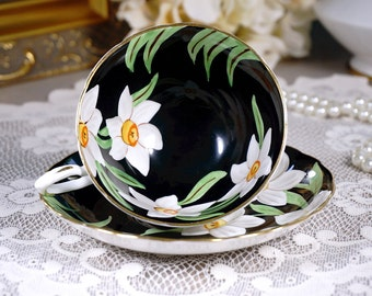 Tuscan Black Tea Cup and Saucer, Floral Teacup, English Tea Set, English Bone China, Made in England, Black and White, Vintage 1950s