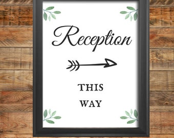 Greenery Reception Direction Wedding Sign, Two Direction Options for Signs, Printable, Instant Digital Download