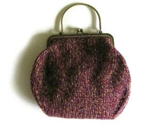 Handbag Knitted in Purple Wool - Kiss Lock Purse