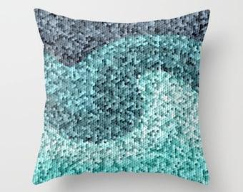 Geometric Throw Pillow Cover Mosaic Pillow Cover Navy Teal Pillow Cover Accent Pillow Cover Decorative Pillow Cushion Cover Euro Sham Cover