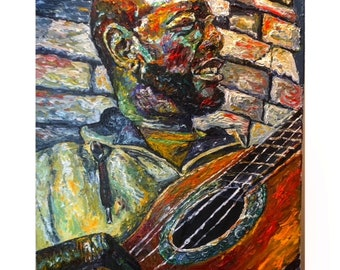 Mercy - Oil Painting, guitar, colorful, color. soulful, spiritual, musician, singing, homeless, passionate, gifted, 16x20, original artwork