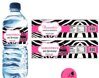 Zebra Print Water Bottle Labels, Birthday Favors  - Digital File
