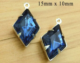 Montana sapphire vintage glass beads - 15x10 diamond shape rhinestone earring drops or pendants - blue glass gems - one pair