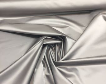 P Kaufmann Grey Silver Upholstery Satin Fabric By The Yard Multipurpose
