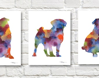 Pug Art Prints - Set of 3 - Triptic Watercolor Paintings - Wall Decor