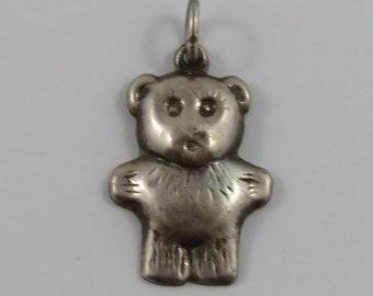 Teddy Bear Silver Vintage Charm For Bracelet