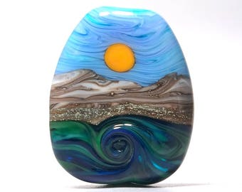 Down By The Seaside - Handmade Lampwork Glass Bead Focal - SRA