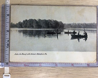 Vintage Old Post Card Lake LeBeouf With Island Waterford Pa No Post Mark