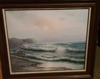 Breakers on the shore painting