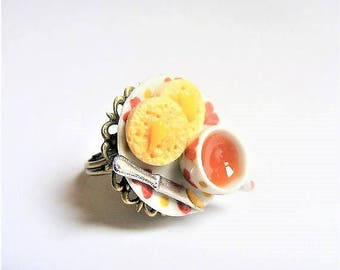 Food Jewelry, Crumpets and Tea Ring, Miniature Food Jewelry, Mini Food, Miniature Food Ring, Dolls House Food, Tea and crumpets, Kawaii ring
