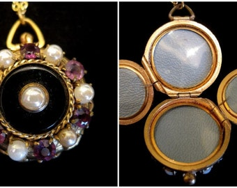 Amethyst and Pearls Locket Necklace