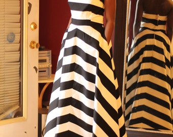 Black and white (also Blue) Striped Dress, Long dress, strapless with two deep side pockets