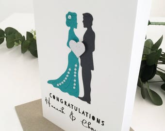 Personalised Teal Green Wedding Card, Wedding Congrats Card, Congratulations, Custom Wedding Gift, Wedding Card Ideas, Newlyweds Gift Ideas