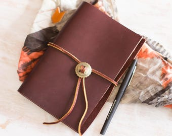 Leather Journal, Leather Binder, Leather Notebook, Refillable, Lined A6 size