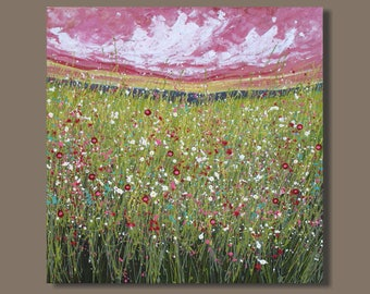 FREE SHIP semi abstract painting, field painting, square format, cloud painting, impressionist, drip painting, landscape painting, meadow