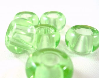 5 glass rondelle beads, mint green, 13mm, (pv29)