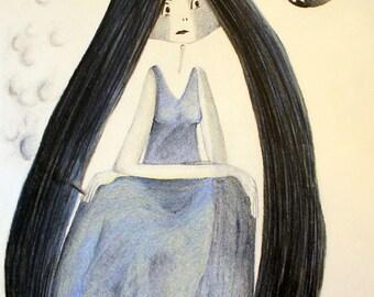 Mary smokes - Original Drawing