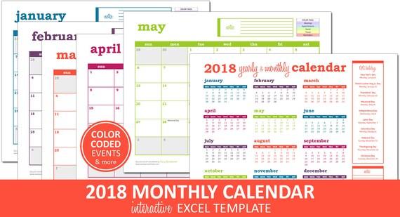 Deluxe Event Calendar 2018 Printable Excel Calendar