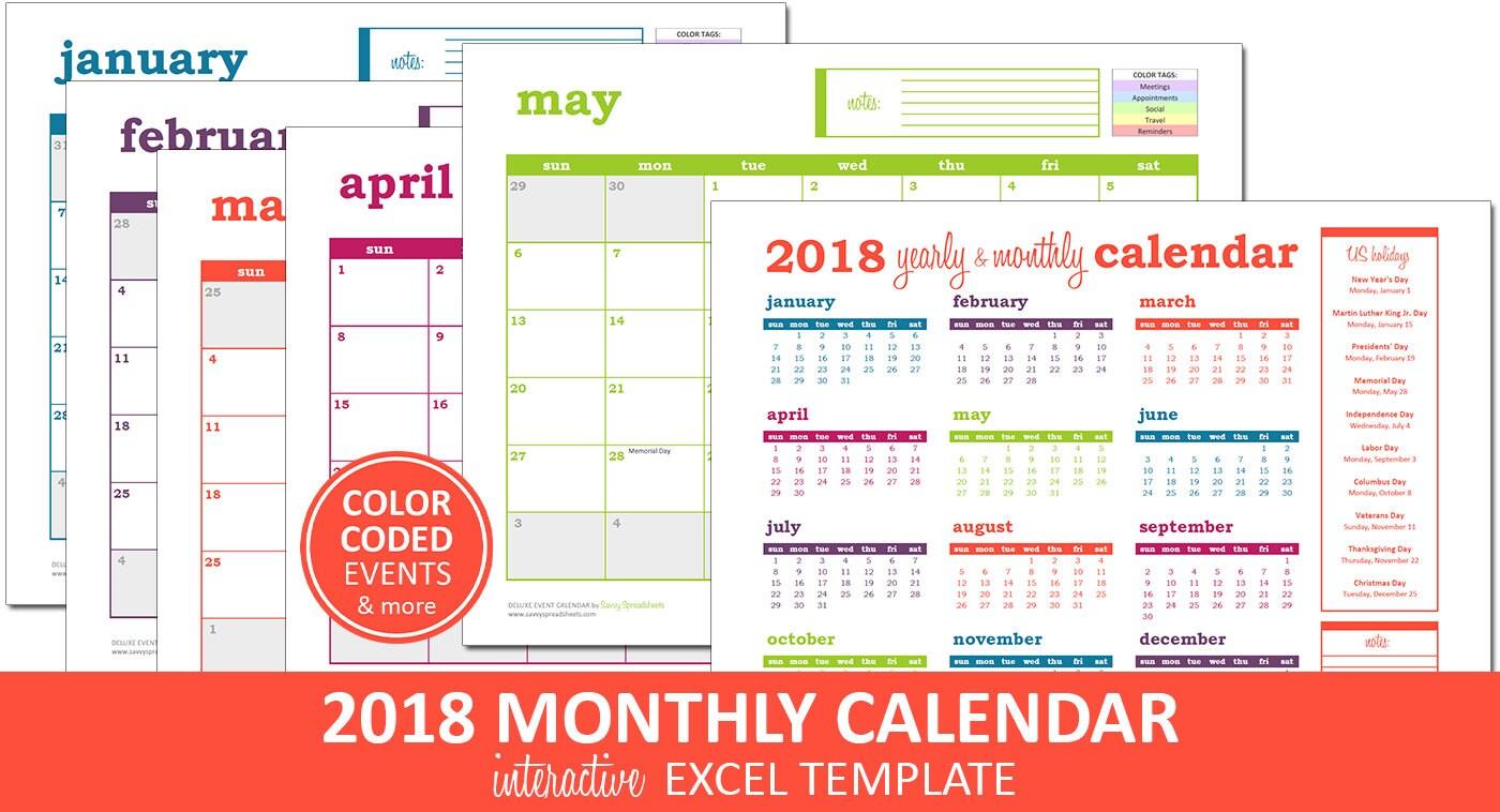 Deluxe-Event-Kalender 2018 Druckbare Excel Kalendervorlage