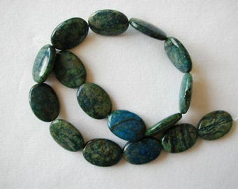 "25mm blue green azurite flat oval beads 16"" strand 4137"