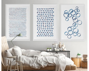 Large Wall Art, Blue Abstract Art, Set of 3, Blue Abstract Painting, Minimalist Print, Navy Blue Art Print, Indigo Art, Minimalist Wall Art