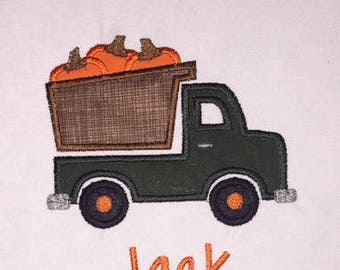 Children's Toddler Fall Pumpkin Dump Truck with Personalized Name on a Short or Long Sleeve T-Shirt