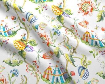 Elephant Fabric - Urara Paradise By Karokarolinko - Pastel Watercolor Floral Flowers Elephants Cotton Fabric By The Yard With Spoonflower