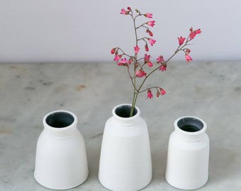 white bud vase // porcelain with an ink blue glazed interior // handmade ceramics // gifts for her // bridesmaid ideas // table decor //