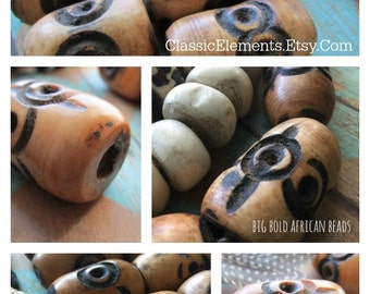 African BIG Bone Bead, African Beads, African Bead, Etched Bead, Bone Bead, Big Bead, bone, focal bead