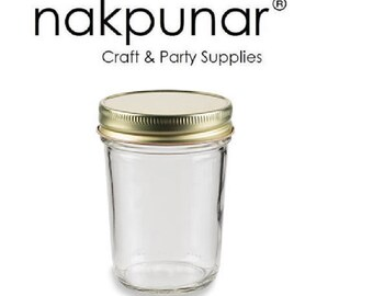 8 oz Mason Glass Jars with Color Choice of Lid