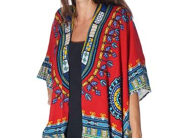 African Inspired Dashiki Beach Boho Kimono, Swim suit Cover Up