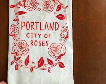 Flour Sack Tea Towel - Portland City Of Roses - Oregon - Hand Printed Original illustration - PNW, roses, gift