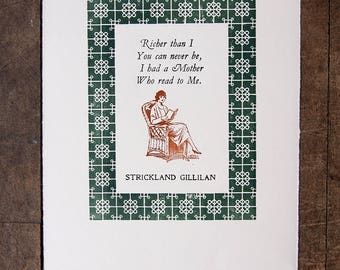 Reading With Mother by Gillilan hand printed letterpress print