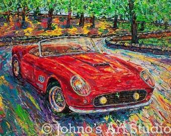 Red Sports car art, Red Car print, Car Print, 1959 Ferrari 250 GT California Spyder GICLEE Print by Pittsburgh artist