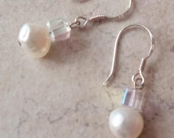Pearl Earrings Sterling Silver Wires Drop Dangle Vintage V0731