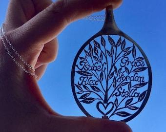 Tree of Life Pendant, Family Tree Jewelry Pendant Necklace, Tree of Life Spoon Pendant, Customized Personalized Monogram Name Tree Jewelry