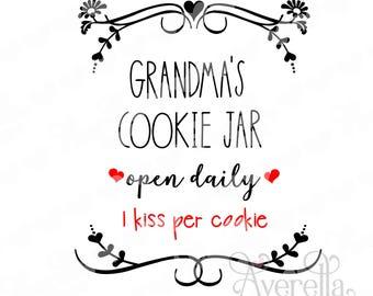 Grandma's Cookie Jar Open Daily 3 Design Bundle SVG