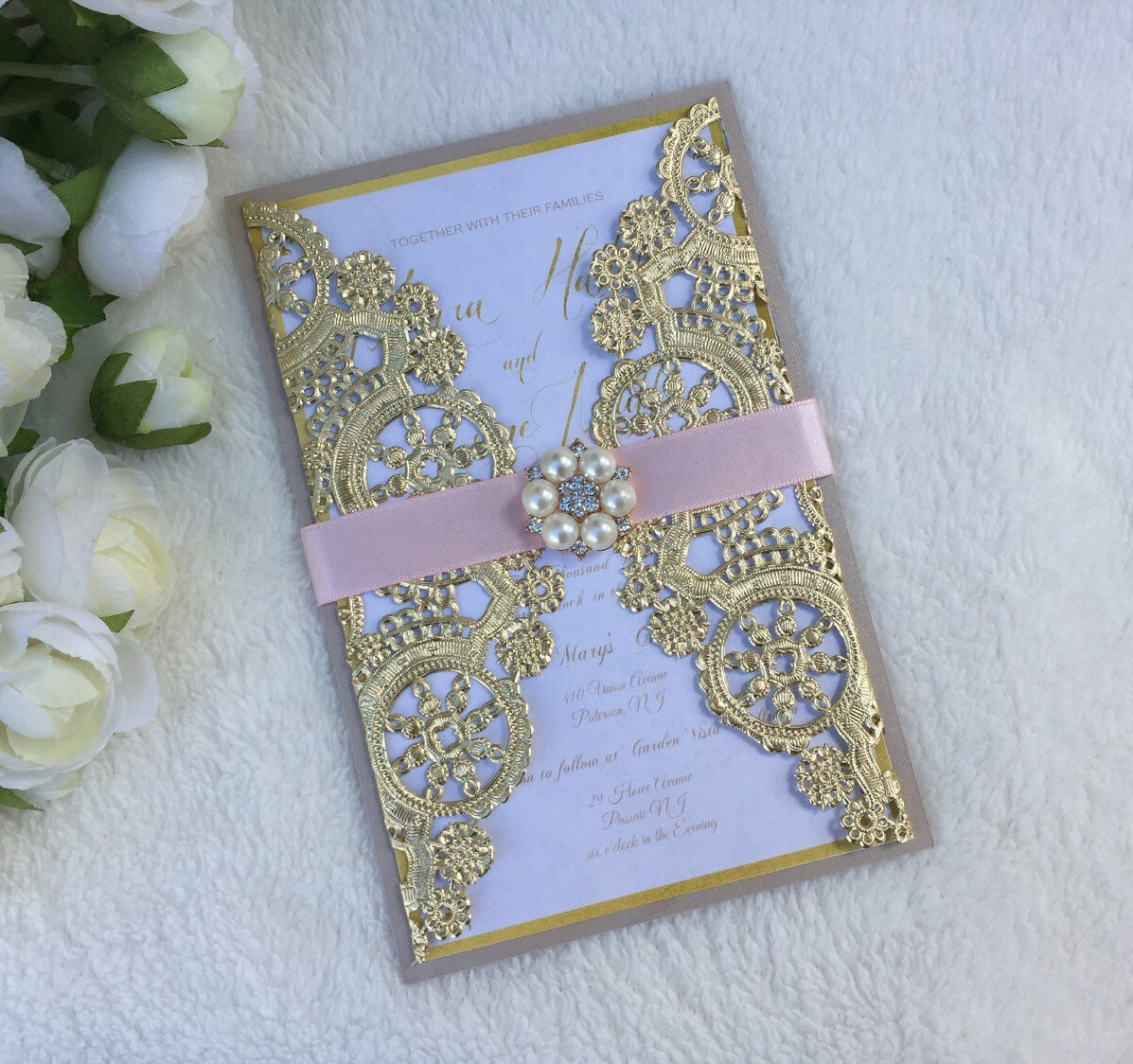 Metallic doily wedding invitation pink and gold doily wedding