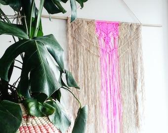 Pink Macrame Curtain- Gift for Her- Macrame Wall Hanging~ Rustic Furniture~ Boho Wall Decor~ Wedding Decor~ Pink Wall Accent- Bohemian Decor